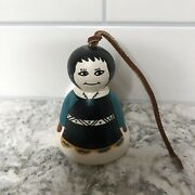 Acoma Pottery Signed G. Lewis New Mexico Nm Girl Woman Painted Bell
