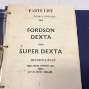 Fordson Dexta And Super Dexta Ford Tractor Parts And Accessories Master Price List