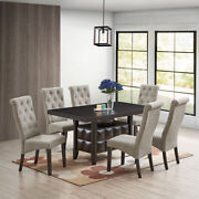 Lemont 7-piece Dining Set Rectangle Table And 6 Parson Chairs Black/gray