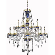 Asfour Crystal Blue And Gold Living Dining Room Kitchen 12 Light 38 Chandelier