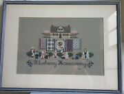 Finished Completed Cross Stitch Blueberry Homecoming Framed Amish Quilts