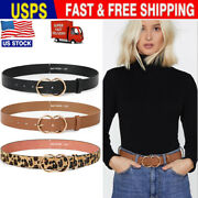 Womens Belts For Jeans With Double O-ring Women Cool Casual Faux Leather Belt Us