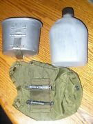 Vtg 1940s Ww2 Us Army Military Water Canteen And Cover Nice Condition