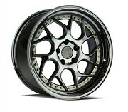 Set4 Aodhan Staggered Ds01 19x9.5/10.5 5x114.3 +22 Black Vacuum Gold Rivets