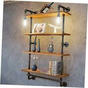 Industrial Pipe Metal Shelf Shelving Shelves With 4 Tiervintage Light Brown