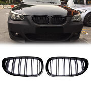 Pair Gloss Black Front Kidney Grille Grill For Bmw E60 E61 5 Series 2003-2010