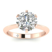 1.02ct F-si2 Diamond Knife-edge Engagement Ring 14k Rose Gold Any Size