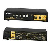 4 Port Dual Monitor Kvm Switch Hdmi 4k@60hz Yuv 444 With Audio Outputs And