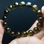 12mm Natural Green Tourmaline Crystal Round Beads Bracelet Aaa
