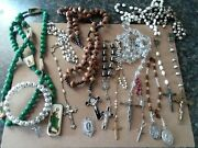 Sterling Silver And Marcasite Catholic Pendant And Vintage Rosaries Mary Crystal