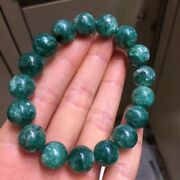 12mm Natural Green Emerald Gemstone Crystal Round Beads Bracelet Aaa