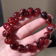 12mm Natural Clear Red Dove Feather Crystal Gemstone Round Beads Bracelet Aaa