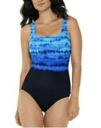 Nwt Reebok Conceptual Waters Printed One Piece Swimsuit Sz 10
