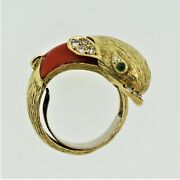 1970andrsquos Diamond Coral Emerald Dolphin Ring 18k Yellow Gold