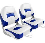 Leader Accessories New Low Back Folding Boat Seat, White/blue 2 Seats New ....