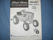 Wheel Horse Electro 12 Charger Ownerand039s Parts Manual Model 1-7235 Garden Tractor