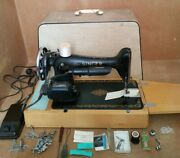 Vintage Electric Foot Pedal Singer Ys953149 Sewing Machine In Case + Accessories
