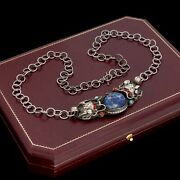 Antique Vintage Deco Sterling Silver Chinese Lapis Lazuli Dragon Necklace 32.6g