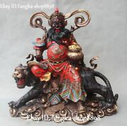 16 China Pure Copper Painting God Of Wealth Money Coin Seat Riding Tiger Statue