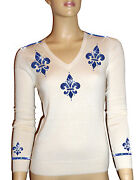 Luxe Oh` Dor 100 Cashmere Sweater V-neck White Sapphire Blue Size 34 Xs/s