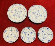 Royal Copenhagen Blue Fluted Half Lace Salad And Saucer Plate 573 525 626 656 Chip
