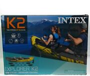 Intex Explorer K2 Kayak Set With Oars And Pump Inflatable Tandem 2-person Yellow