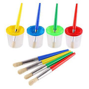 4pcs Paint Brushes And 4pcs No Spill Paint Cups With Lids For Kids Beginners