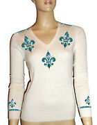 Luxe Oh` Dor 100 Cashmere Sweater V-neck White Turquoise Blue Size 48 Xl