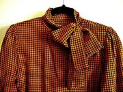 Vintage Hardy Amies Blouse And Belt Bow Tie Collar Size 10 Euc Rare
