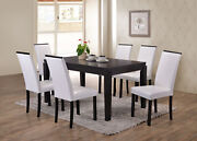 Black Finish Wood Dining Dinette Andndash Kitchen Table And 6 White Parson Chairs