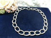 Antique Heavy Thick Sterling Silver Curb Link Pocket Watch Chain Necklace 16