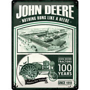 John Deere 100 Years Limited Edition Tin Sign 3d Embossed 11 13/16x15 11/16in