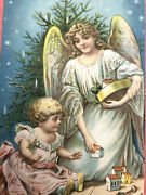 Antique Vintage Christmas Postcard Angel Baby Girl Rattle Toys Emb Db Germany