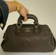 Outdoor Ligne Brown Bowler Bag Quilted Caviar Leather Antique Silver Hw