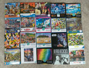Huge Lot Of 20 Jigsaw Puzzles 1000 750 500 Pieces Buffalo Ceaco Star Wars Others