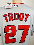New Mike Trout Signed Angels Majestic Baseball Jersey Mlb Holo Autographed Coa