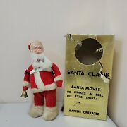 A Santa Creation Battery Operated 1960and039s Japan 16404 Toy Rings Bell Lights Up
