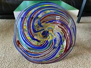 Rollin Karg Signed/dated Unique Hand Blown Glass Art Plate/platter/candy Dish