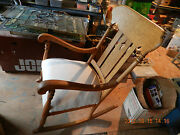 Antique Tiger Oak Rocking Chair Refinished Add Your Designer Material Ready