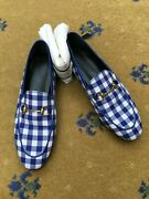Womens Shoes Loafer Blue White Check Fabric Uk 4 Us 7 37 Ladies Jordaan