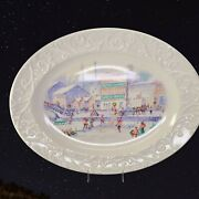 Proctor And Gamble Happy Holidays Christmas Oval Serving Platter River Scene