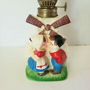 Antique Ceramic Dutch Kissing Boy And Girl Windmill Oil Lamp Label Japan 9 1/2