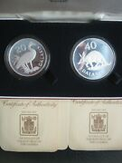 Gambia 1977 Proof 20 And 40 Dalasis Aardvark Goose Conservation Silver Coin Set