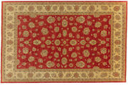 Afghan Chobi Ziegler Carpet Hand Knotted 210x320 Red Oriental Wool