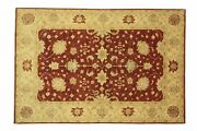 Afghan Chobi Ziegler Carpet Hand Knotted 210x280 Red Floral Wool Short-pile