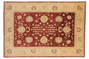 Afghan Chobi Ziegler Carpet Hand Knotted 210x310 Beige Floral Pattern Wool