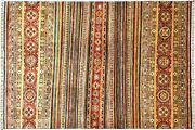 Afghan Khorjin Shaal Carpet Hand Knotted 210x280 Colourful Strip Wool Short-pile