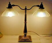 Vintage Double Arm Brass Student Table Art Deco Desk Lamp With Glass Shades