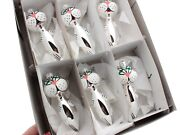 Lot 6 Czech Blown Glass Hand Painted Silver Cat Christmas Tree Ornaments Decor