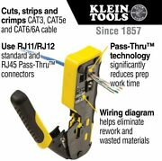 Klein Ratcheting Cable Crimper / Stripper / Cutter For Pass-thru